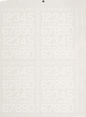 404PW Pressure Decal Numbers White