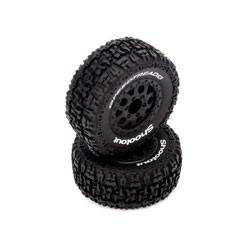 FR/R Tire, Prmnt, Blk Whl (2):1:10 2wd/4wd Torment