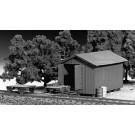 Handcar Shed w/Handcar & Trailer Kit -- HO Scale Model Railroad Building -- #7011