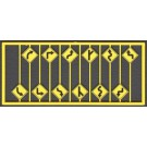Left & Right Road Path Warning Signs (12) -- HO Scale Model Railroad Road Accessory